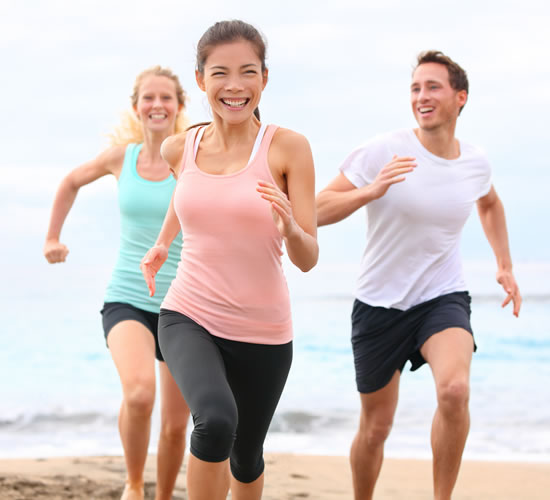 Healthy People running on beach